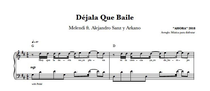 Partitura Piano DÉJALA QUE BAILE | Melendi
