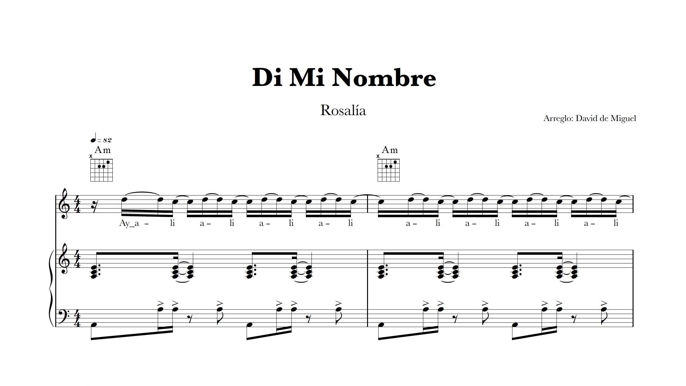 Partitura Piano Di Mi Nombre | Rosalía