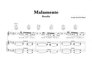 """Partitura Piano """"MALAMENTE"""" de Rosalía + Acordes Guitarra"""