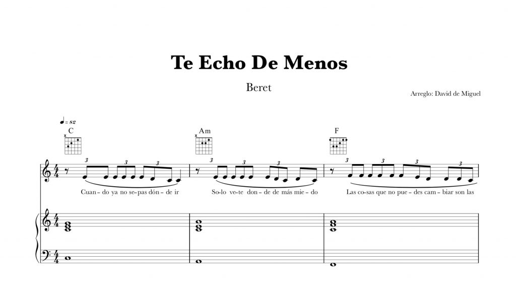 Partitura Piano Te Echo De Menos | Beret