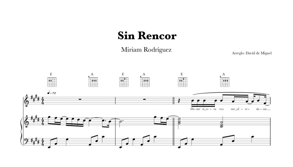 Sin Rencor | Miriam Rodriguez | Partitura Piano + Acordes