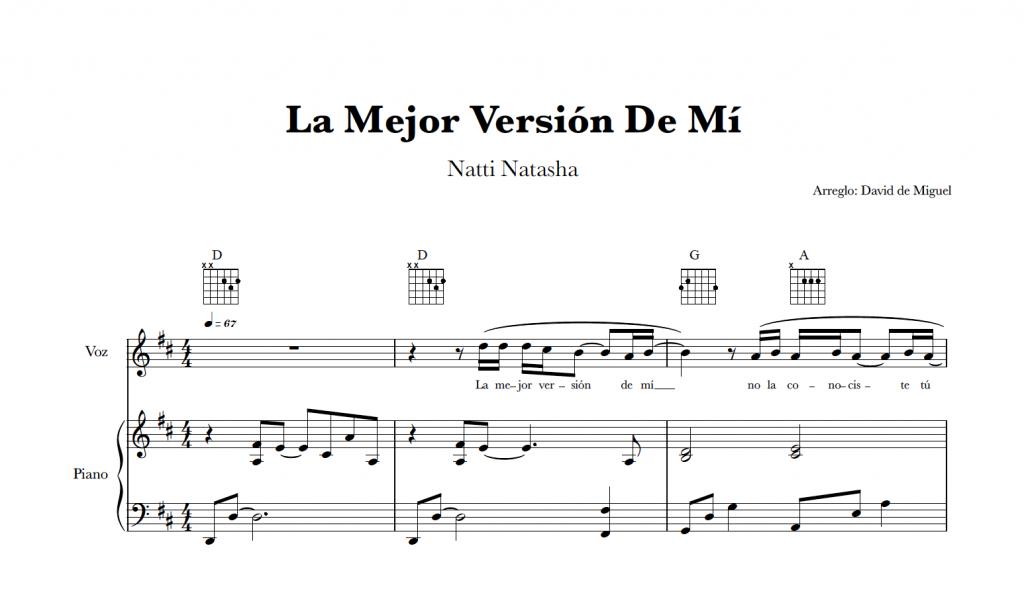 La Mejor Versión De Mí | Natti Natasha Partitura Piano y Voz + Acordes Guitarra
